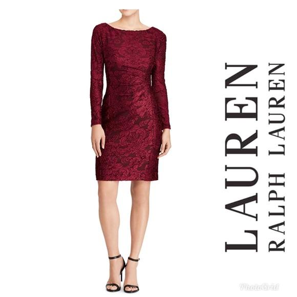 cad9f2f0ceb Lauren Ralph Lauren Floral Burnout Velvet Dress